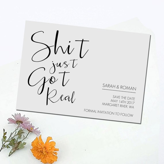 Shit Just Got Real Save The Date DIY Printable Print At
