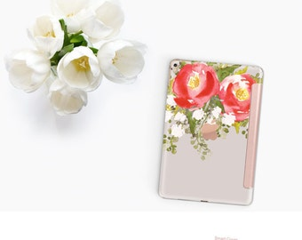 Platinum Edition Red Blossom with Rose Gold Smart Cover Hard Case for the iPad Air 2, iPad mini 4 , iPad Pro , New iPad 9.7 2017