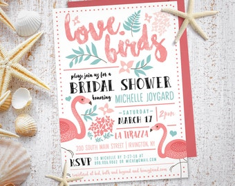 Flamingo Bridal Shower - Bridal Shower Invitation  (Digital file)
