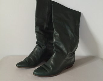 hunter green tall boots | slouch leather boots | 7.5 | 8