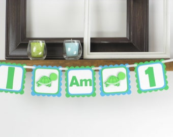 Turtle Age Banner - Turtle Birthday - Turtle Party