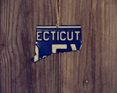 """Upcycled Vintage Connecticut License Plate """"State of Connecticut"""" Ornament"""