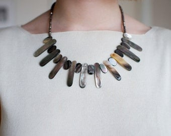 Sleek Abalone & Crystal Neutral Necklace
