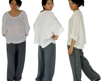 HJ800W ladies blouse kastig cut linen white one size