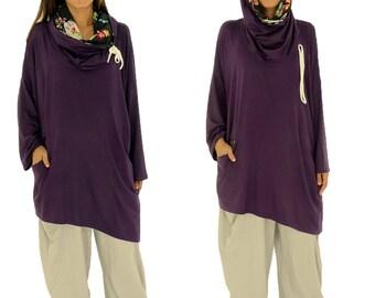 HR800LL1 tunic layered look shirt asymmetrical Gr. 40-52 purple plus size Jersey vintage