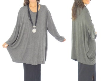 HP400DGR tunic top layered look asymmetrical Jersey Gr. 38-54 anthracite