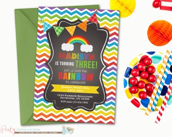 Rainbow Birthday Invitation, Chevron Birthday Invitation, Rainbow Birthday Party, Rainbow Invitation, Chalkboard Invitation