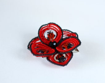 Red and black ladybug beaded flower hair clip, French beaded flower barrette