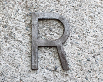 R - 5 Inch Cast Iron Metal Letter R - NO drill holes