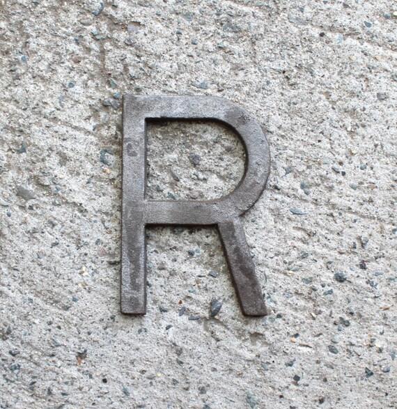 5 pulgadas de hierro fundido metal letra r no perforaciones - Letras de hierro ...