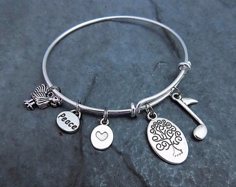 Love Peace and Chicken Grease -  Expandable Bangle - Charm Bracelet  -  Zamily Tree  -  Music  - ZBB Jewelry