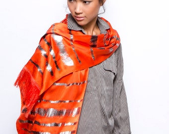 SALE: Printed silk scarf, Orange Hand printed fringe scarf, Designer Metallic scarf, Long scarf, Original by Dikla Levsky