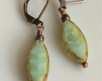 Light Green Glass Earrings  Bohemian Earrings  Mint Green Earrings  Boho Earrings  Czech Glass Earrings  Leverback Earrings  Gypsy Dangles