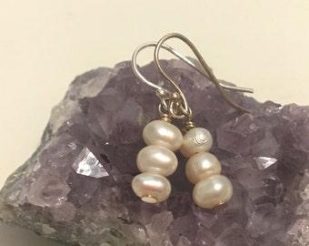 Dainty Freshwater Pearl Sterling Silver Dangle Earrings. Sterling Silver Hypoallergenic Boho Earrings - B0208