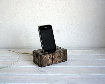 Wooden handmade Wood iPhone Stand Wooden iPhone Docking Station Elm wood iPhone Dock Wooden iPhone holder.Vintage style.