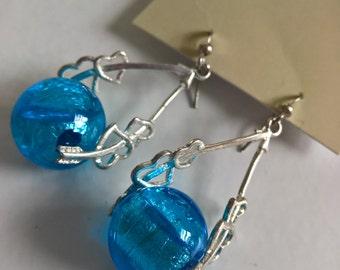 Vintage Blue Cupid Lovers Hearts Dangle Earrings --- 90's Punk Kawaii Sweet Costume Jewelry --- 1990's Adorable Valentine Disco Accessory