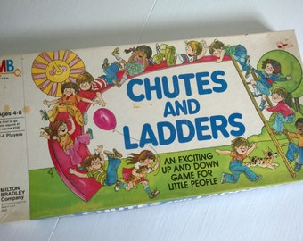 Vintage Chutes and Ladders Milton Bradley Board Game -- An Exciting Up & Down Game -- 1970's 1980's Kids Toy --- Nostalgic Family Game Night