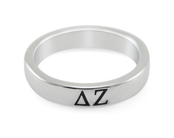 Delta Zeta Sterling Silver Skinny Band Ring with Black Enameled Letters