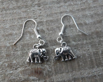 Elephant Earrings, Silver Elephant Dangle Earrings,  Drop Earrings, Elephant Charms, Elephant Jewellery,  Pierced Ears, Silver Earrings