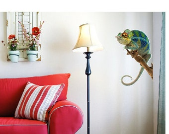 wall sticker wall decal chameleon blue