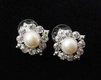 Bridal Pearl Earrings, Crystal And Pearl Earring Studs, Bridal Earrings, Swarovski Bridal Earrings, Bridal Studs, Wedding Earrings
