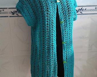 Crocheted Summer Air cardi vest - free worldwide shipping