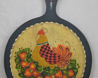 Folk Art Chicken and Strawberries