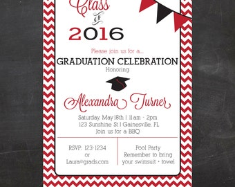 Custom Printable Graduation Invitation - Chevron OR Solid - Pick your school colors