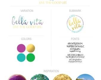 Watercolor Gold Foil Premade Boutique Logo Branding Kit Blogger Photographer Creative