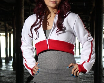 Red Trim Pokemon GO Trainer Cosplay Costume Hoodie Cropped Jacket