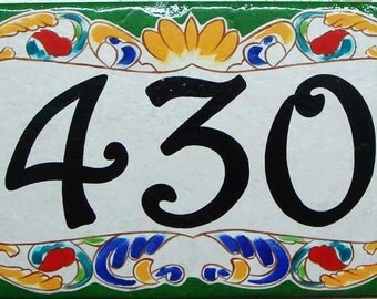 Green border house number sign, house numbers,  housewarming gift, house number plaques, house sign, hand painted ceramic house signs