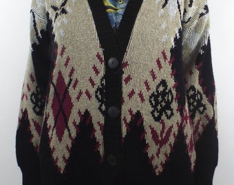 Grandma Glam Vintage Argyle and Floral Printed Knit Cardigan