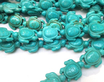 Turquoise Turtle Bead FULL STRAND  15.5 inch Magnesite With Patina  23 pieces Supplies