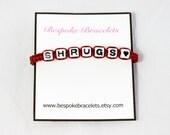 Personalised Bracelet, white + black Letter beads, Heart bracelet, words/phrases/initials, Friendship bracelet, word bracelet, gift bracelet