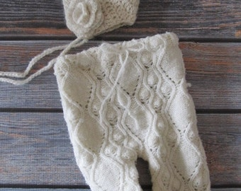 RTS - Newborn Photography Prop - Upcycled Girls Pants with Matching Crochet Bonnet - Flower - Ivory - Vintage sweater upcycle