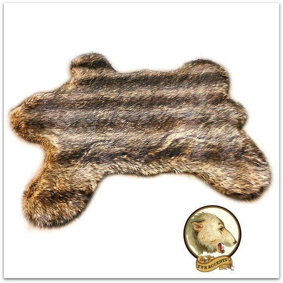 bear skin pelt area rug faux fur fake fur throw by furaccents. Black Bedroom Furniture Sets. Home Design Ideas