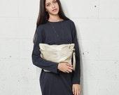 Gold Leather Cross Body Bag, Gold Leather Bag, Crossbody Purse, Small Handbag