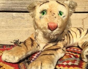 Vintage Steiff Tiger/ Lying Down/ Reclining/ Steiff/ Glass Eyes/ Large/ Stuffed Animal/ 1950 50s/ Toy / Mohair/ As Found LA