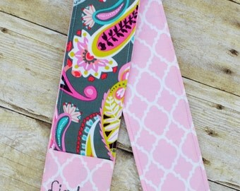 Camera Strap Cover (Gray Paisley/Pink Quatrefoil)