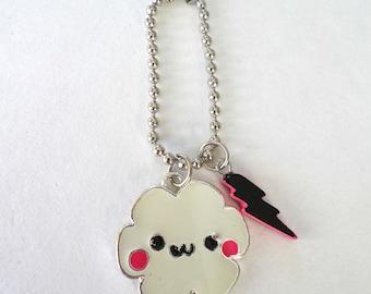 Blushing Cloud And Lighting Bolt Keychain / Metal Keychain / Rain Keychain / Kawaii Accessory / Plastic Charm / Kawaii Cloud Keychain