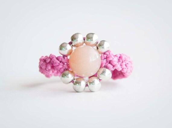 Pink macrame ring