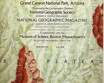 Heart of the Grand Canyon vintage map / cartography/ maps/ National Geographic/ Grand Canyon National Park/ Arizona/ Colorado River