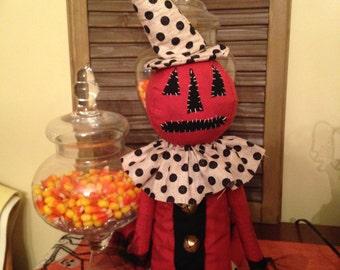 Primitive Halloween Pumpkin Doll, Jack the Pumpkin Doll with Polka Dot Dress, Handmade Doll