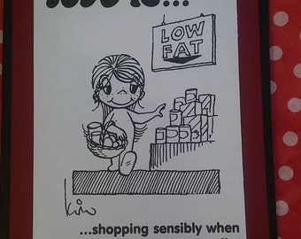 Card Hand Made Love is..... shopping sensibly when he's on a diet