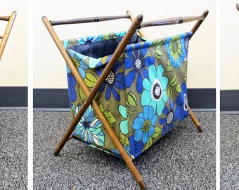 AWESOME Folding 60's MCM Magazine Rack Holder, Green blue flowers floral Mid Century Modern Danish Wooden Fabric textile storage