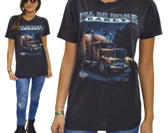 Vintage 80s Truckers Only I'll Be Home Early 3D Emblem T Shirt Sz L