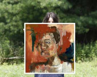 Portrait Study Art Print, Large Format Art Prints, Abstract Painting Art, Abstract Portrait