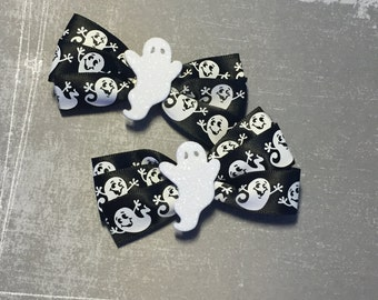 Scared of Boo Halloween Ribbon Hair Bows - Set of 2 Clips