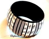Elephant Bracelet, Wide Chunky Wood Bangle Bracelet, Animal Print Gift Accessory for Her, Custom Jewelry, Houndstooth, Plaid Fashion