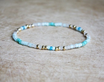 Blue, White & Gold Bracelet - Boho Bracelet